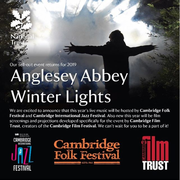 Advert for Anglesey Abbey winter lights