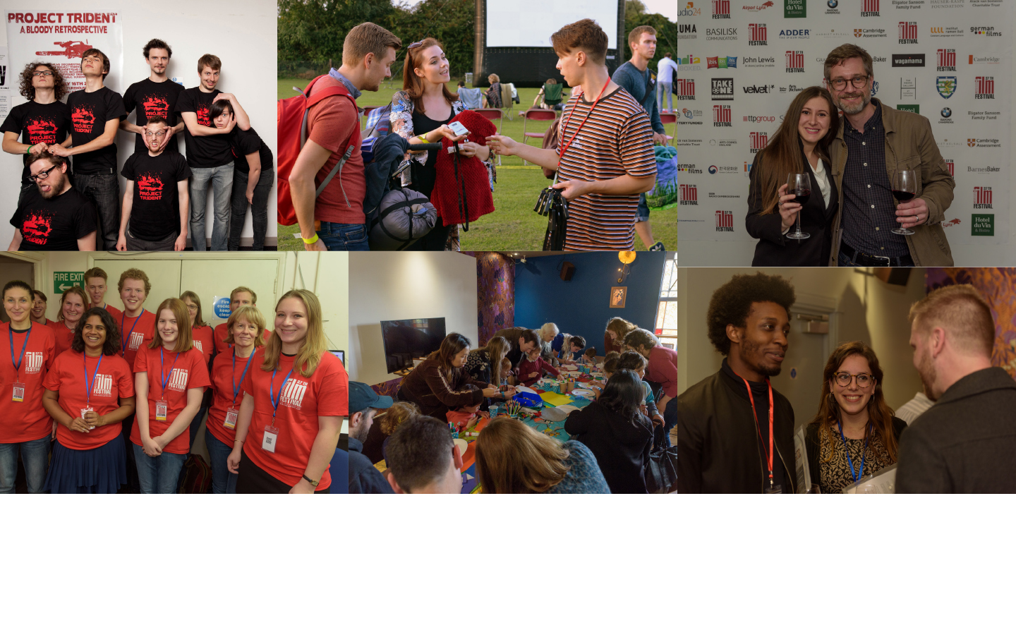 collage of happy young people
