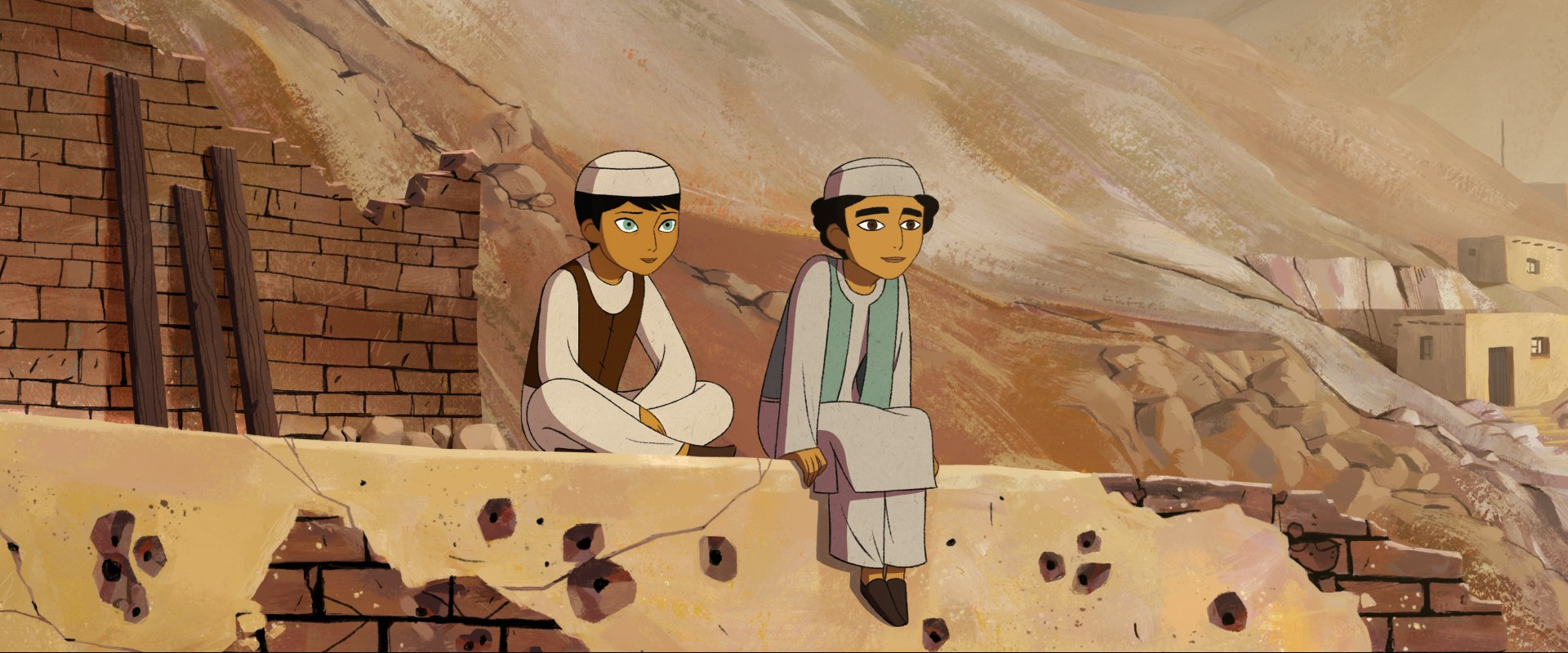 Animated boys sitting on wall