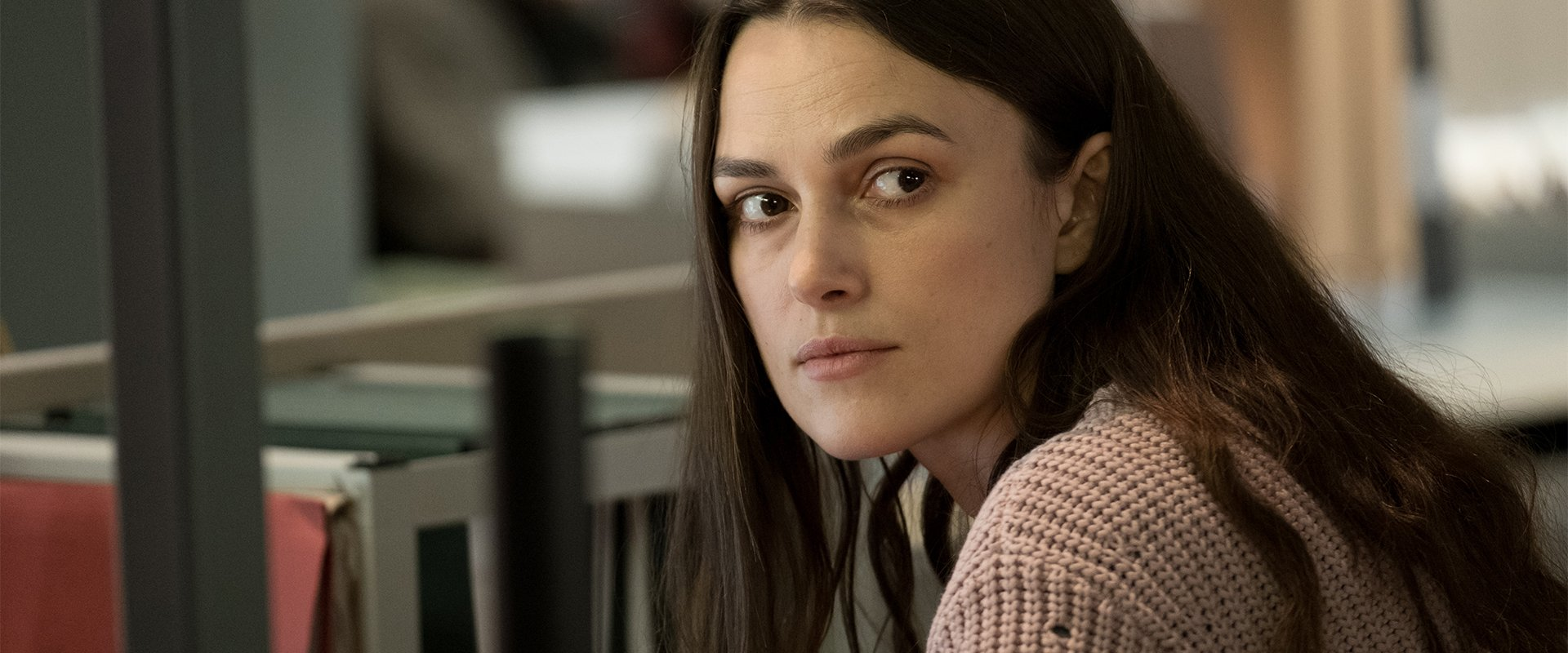 A stressed Keira Knightley looks pointedly off-screen