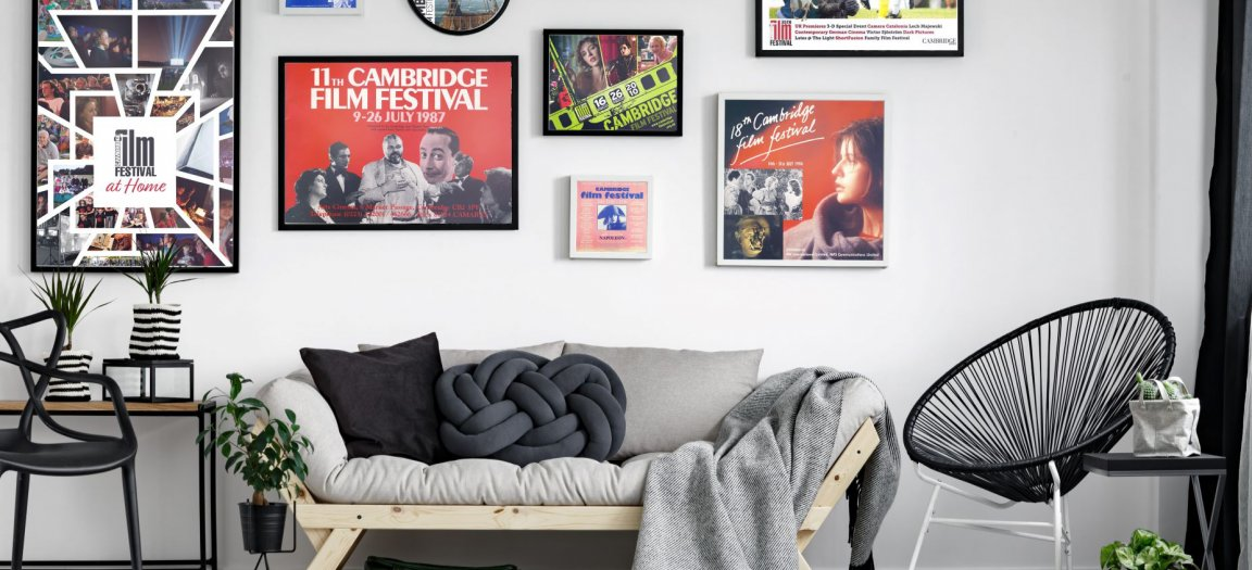 Modern Living Room with Cambridge Film Festival posters on the walls