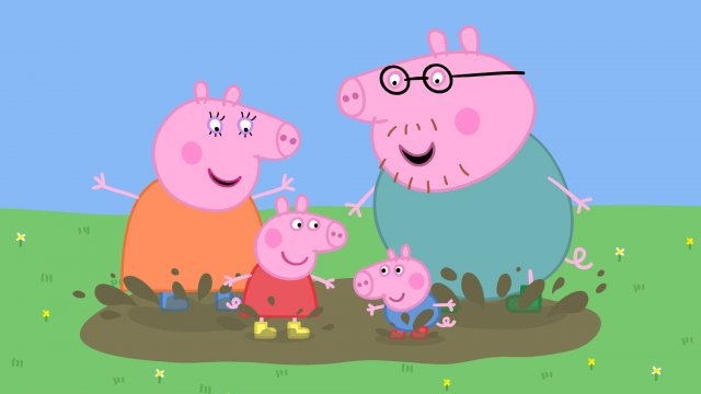 Peppa Pig and her family are all standing in a puddle