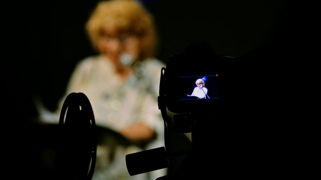 Shirley Collins from behind camera view