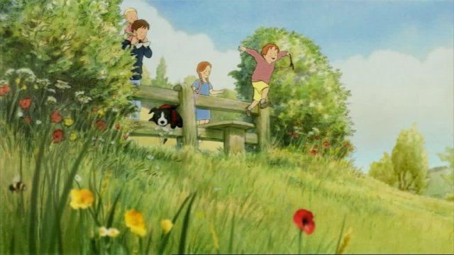 Four children( an older boy with a baby on his shoulders, a little girl and a little boy) and their dog are standing behind a wooden fence, while the little boy jumps of it.