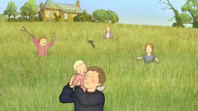 Five children (the older boy with baby on his shoulder, two little girls and a little boy) stand amongst a field of tall grass, in front of a house.