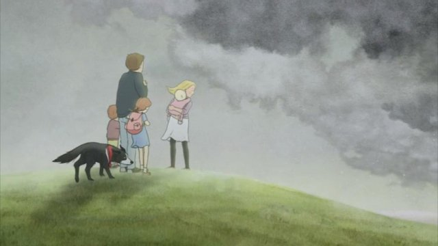 Five children and their dog stand on the edge of a hill looking at the grey clouds below them.