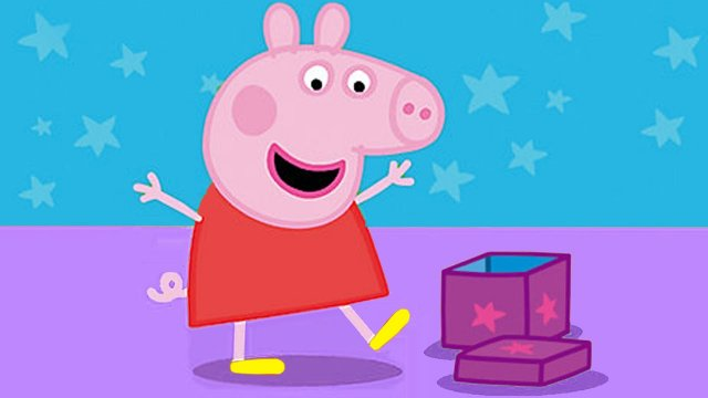 Peppa Pig is opening a box