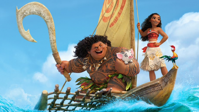 Moana and Maui on their boat