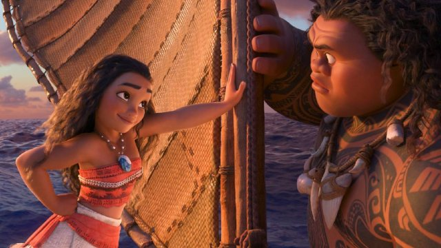 Moana and Maui, looking at each other.