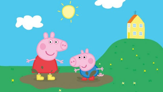 Peppa Pig and her brother are jumping in a puddle